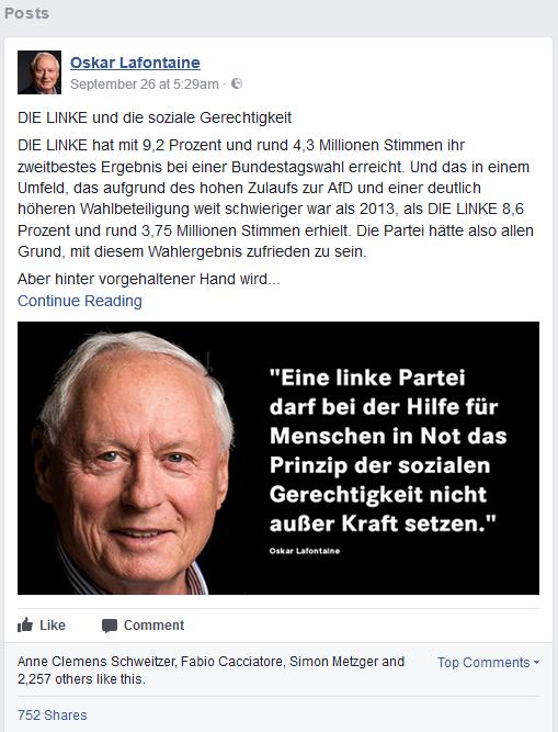 Screenshot von Oskar Lafontaines Facebook-Seite
