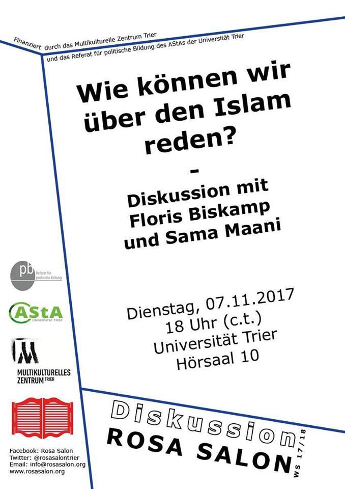 Flugblatt zur Diskussionsveranstaltung mit Floris Biskamp und Saama Maani